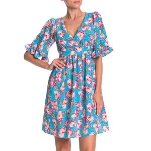 Vintage Betsey Johnson Floral Bell Sleeve Dress
